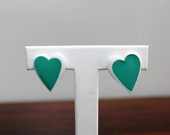 Vintage 80s Green White Heart Post Stud Earrings  Avant Garde New Wave Pierced Ears