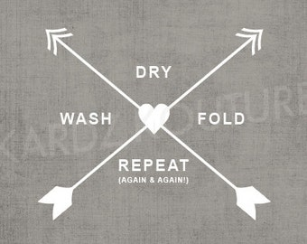 Laundry Room Print // wash, dry, fold, repeat (again & again!) //  Size 8x10 // distressed grey background