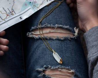 Gold Dipped White Feather Necklace