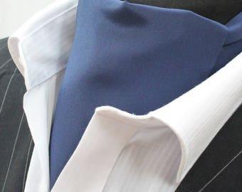 Cravat Ascot 100% Silk Front. UK Made Navy Blue + match hanky.