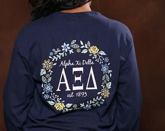 Alpha Xi Delta Vine Long Sleeve - AXiD Letter Shirt