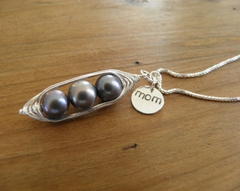 """Necklace... """"sweet peas in a pod"""" three gray pearls wire wrapped in silver with hand stamped mom charm necklace."""
