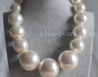 So Big Pearl Necklace, Pearl Gradually Necklace, large pearl necklace,faux pearl necklace, choker necklace, Men Pearl necklace, man Necklace