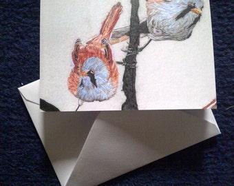 Bearded Tits design blank greeting card