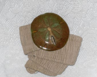 Sand Dollar Belt Buckle Stretch Belt Wide Ocean Beach Nautical Painted Vintage