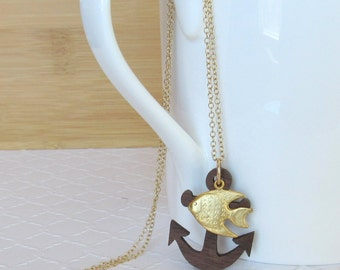 Nautical Necklace, Anchor and Gold Fish Pendant Necklace, Anchor Necklace, Nautical Necklace, Goldfish Jewelry, Nautical Anchor Necklace