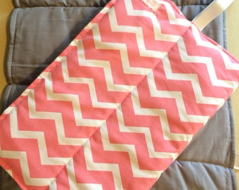 Changing Pad- Coral Chevron with grey