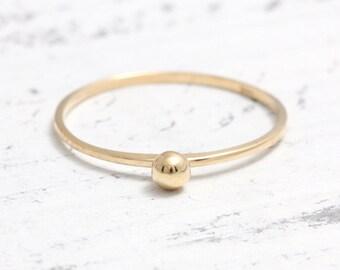 Tiny Ball Thin Band Solid Gold Ring,  Small Gold Dot Stacker Ring