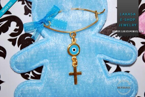 BEST Price Cross Enamel Eye Baby Brooch Sterling Silver Handmade Kids Jewelry Mother Happy Shower Day Religious Baptism Newborn It is a Boy