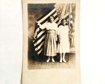 RPPC Patriotic Flag Photo with Two Young Girls, St. Louis, Missouri, Ca: 1915.