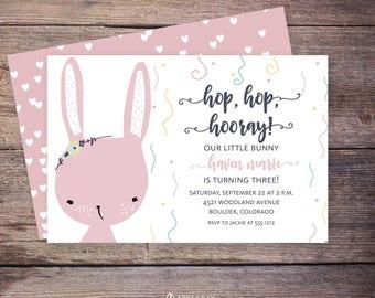 printable bunny birthday invitation, little bunny birthday, rabbit birthday invitation, hop hop hooray birthday invite