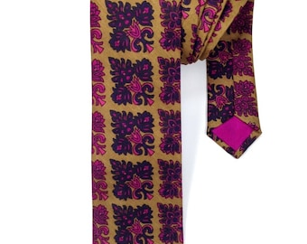 Mustard & Pink Silk Tie, Pure Silk Neck Tie, Mens Neck Wear, Mens Tie, Novelty Tie, Suit and Tie Accessory, Mens Accessory, Wedding Tie