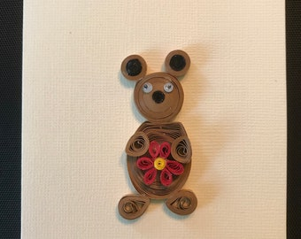 Cute Quilled Bear greeting card