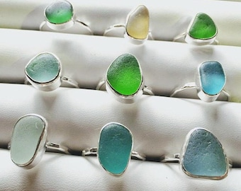 Beachglass Ring in Sterling Silver bezel ~ Seaglass from Hawaii