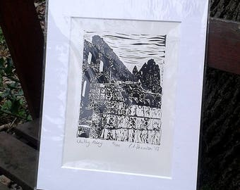 Whitby Abbey Detail - limited edition lino print