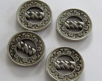 Button * silver round stylized with pretty prints