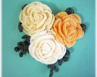 handmade  crochet flower motif brooch corsage