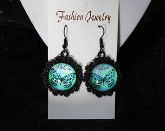 Black earrings with Butterfly glass cabochon