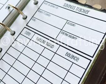 Printed Pocket Size Savings Trackers