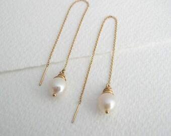 Freshwater Pearl Ear Threads - Pearl  Drop Earrings - Threader Earrings - Bridal Earrings - Alternative Bridal- Wedding Jewellery