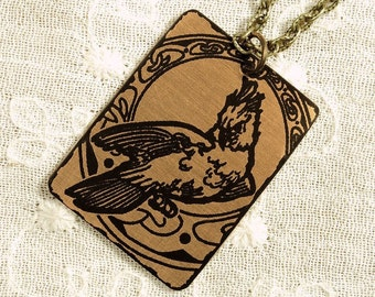 Cockatoo Necklace - Etched Fused Glass on Bronze Jewelry