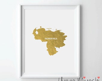 Venezuela Map Gold Foil Print, Gold Print, Map Custom Print in Gold, Illustration Art Print, Map of Venezuela Gold Foil Art Print