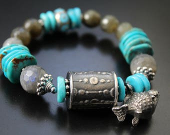Anne Choi turquoise and labradorite OOAK bracelet, Green Girl Studios fish charm bracelet, stretch boho gemstone bracelet, lampwork bead