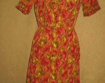 Silk Dress 50s Wiggle Dress Vintage M