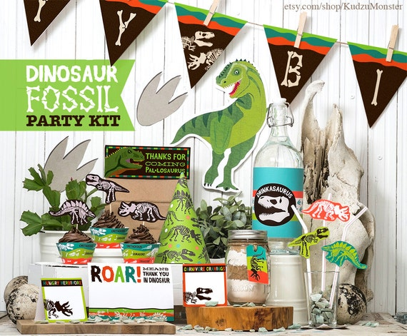 Dinosaur fossil party printable kit birthday decor banner for Dinosaur mural kit