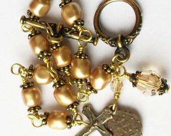 Vintage Look Gold Pearl Rosary Bracelet Antique Brass Swarovski Crystal Pearl Catholic Unbreakable Miraculous Medal