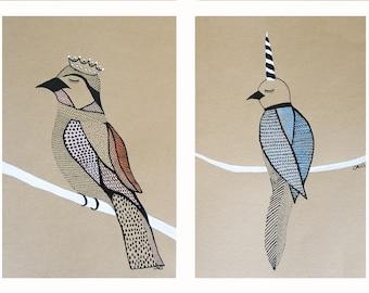 Blue unicorn bird - Original painting - mixed media on acid free paper