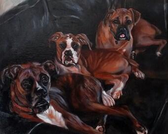custom dog Painting,Christmas gift idea, pet portrait, portrait Commission, Dog painting from a photo, boxer dog , personalized pet art,