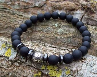 Mens bracelet, Mens Gift, Men's bracelet, Man's bracelet, Onyx bracelet, Sterling silver bead, black bracelet, Sterling silver bracelet
