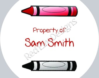 "Property Of stickers - Sheet of 20 - 2"" Round.  School Label Stickers.  2 Inch Round Crayon Stickers"