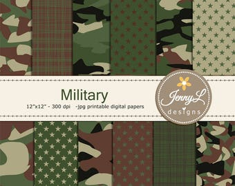 Military Camouflage Digital Papers, Army for digital scrapbooking, invitation, cake topper, planner