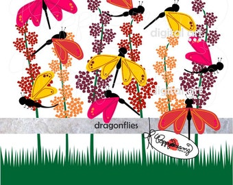 Dragonflies: Clip Art Pack (300 dpi transparent png) Digital Dragonfly Dragon Fly Flower Digital Grass Garden Clipart
