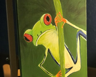 acrylic frog painting on canvas