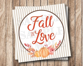 Instant Download . Printable Fall In Love Tags, Printable Fall Tags, Pumpkins & Laurels