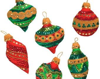 """Bucilla Glitzy Ornaments 3"""" X 4"""" Felt Applique Kit, Set of 6, 86725 - New 2017"""