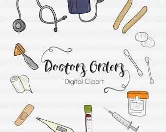 Doctor Clipart-Nurse Clipart-Object Clipart-Digital Clipart-Ear Swab Clipart-Bandaid Clipart-Needle Clipart-Hospital Clipart-ER Clipart