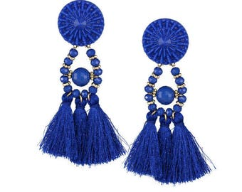 Boho Stud Earrings Women Vintage Long Tassel Fringe Beads
