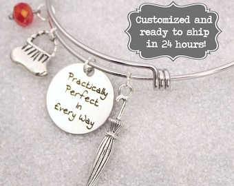 Mary Poppins Engraved - Practically Perfect In Every Way Bracelet, DISNEY Inspired Bracelet, Custom Name Charm Bracelet, Adjustable Bangle