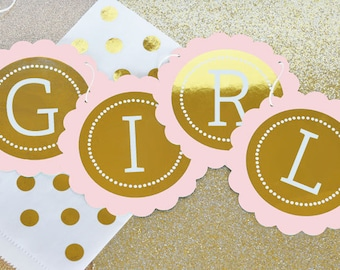 Gold Foil Banner - Pink and Gold Baby Shower Ideas - Princess Baby Shower Ideas - Silver & Golden Birthday Baby Shower Ideas (EB3034FB)