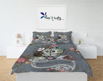 Sugar Skull Comforter, Sugar Skull Duvet Cover, Skull Bedding, Day Of The Dead, Kissing Skulls, Mr and Mrs, Kissing Skulls