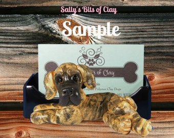 Brindle Great Dane dog natural ears Business Card / Cell Phone / Post It Note Holder OOAK Sculpture by Sally's Bits of Clay