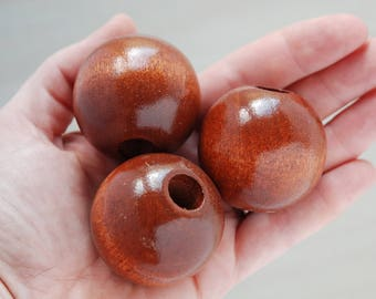 Giant Vintage Ball Beads // Extra Large Wooden Beads // Wood Macrame Beads // Large Hole Beads // Pack of 4 // W086
