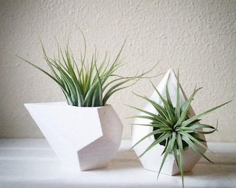 Geometric mini planters, set of teardrop dodecahedron air plant holders, faceted containers, pair of mini planters