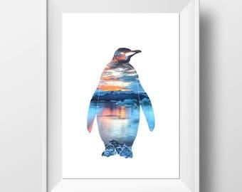 Penguin Print - Penguin Wall Art - Penguin Decor - Penguin Art - Modern Print - Animal Print - Minimalist Wall Art - Scandinavian Style