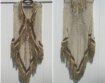 Open Poncho With Sleeves PDF DIY Pattern Fringed Native American Style Tribal Crochet Is not a Finished Product
