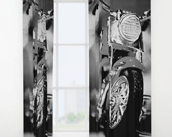 Black & White Motorbike Curtain, Window Curtains, Black and White Curtains, Man Cave Gifts, Motorcycle Decor, Man Cave Decor, Manly Gift